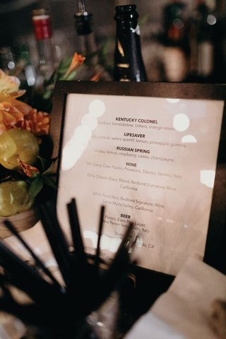 wedding-reception-cocktail-hour-wood-frame-cocktail-menu-bar