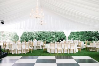 tented-reception-checkered-dance-floor-chandelier-south-carolina-wedding-outdoor-classic-gold