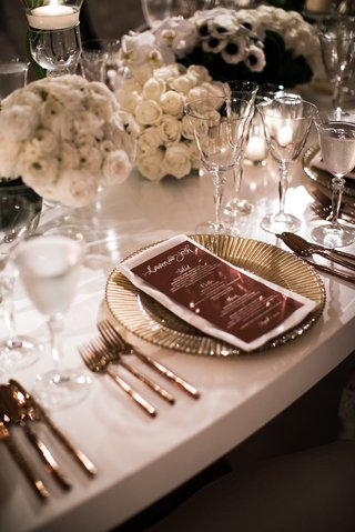 wedding-reception-with-copper-wedding-menu-gold-plate-white-rose-ranunculus-centerpieces-white-table