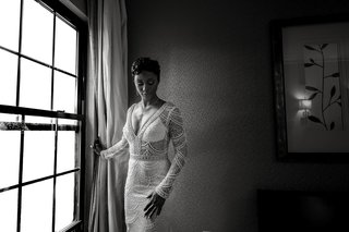 black-and-white-photo-of-bride-in-lace-berta-wedding-dress