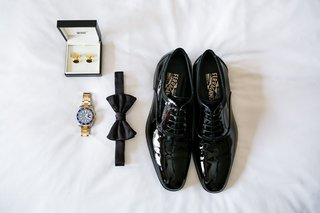 salvatore-ferragamo-black-dress-shoes-rolex-bow-tie-cufflinks-for-grooms