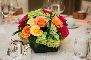 bridal-shower-centerpiece-pink-yellow-orange-rose-green-hydrangea-greenery-low-centerpiece-flowers