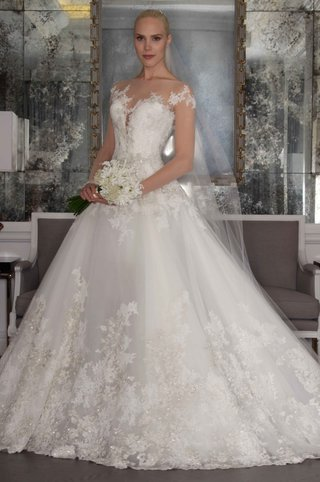 romona-keveza-luxe-bridal-fall-2016-long-sleeve-illusion-ball-gown-with-lace-skirt