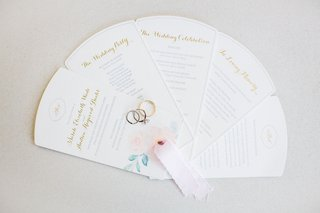 wedding-ceremony-program-fan-multiple-page-style-wedding-rings-on-top-light-pink-ribbon-pastel