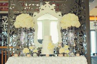 white-wedding-cake-display-with-peony-decorations