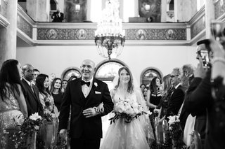 black-and-white-photo-of-bride-processional-with-father-church-greek-orthodox-cathedral