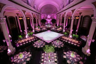 wedding-reception-vibiana-pink-lighting-violet-greenery-round-rectangular-tables-dance-floor-columns