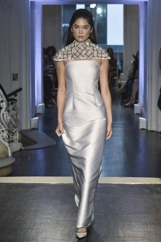 lakum-fall-2018-italian-neoprene-strapless-gown-with-chrome-embroidered-capelet