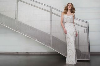 limor-rosen-2017-alice-beaded-wedding-dress-blouson-top-and-sheath-skirt