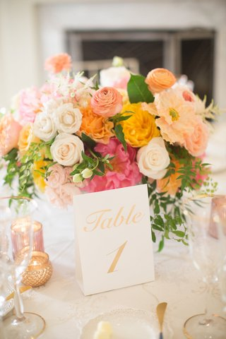 wedding-table-number-gold-card-pink-yellow-orange-flowers-rose-peony-ranunculus-greenery