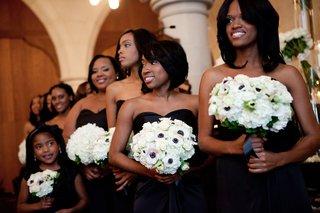african-american-bridesmaids-in-black-dresses