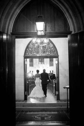 black-and-white-photo-of-church-wedding-entrance