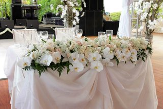 wedding-reception-sweetheart-table-is-covered-with-pale-pink-and-white-fabric-and-flowers