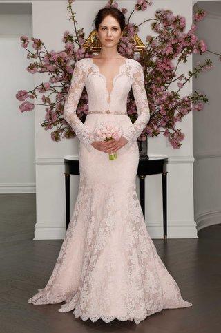 legends-by-romona-keveza-blush-plunging-neckline-long-sleeve-lace-wedding-dress-ciara-lookalike