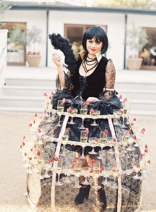 wedding-performer-serving-champagne-with-strawberries-in-french-costume-with-crinoline-style-skirt
