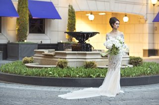 wedding-styled-shoot-model-in-lace-ines-di-santo-gown-large-bouquet-white-orchids-and-amaranths