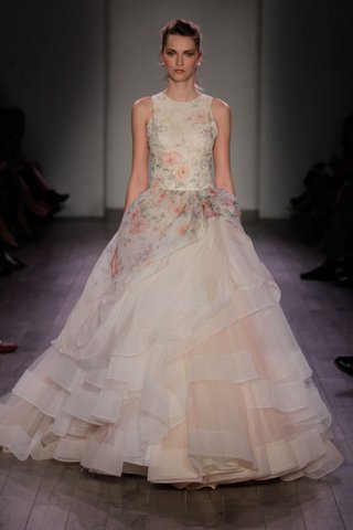 lazaro-spring-2016-flower-print-high-neck-wedding-dress-with-layered-ball-gown-skirt