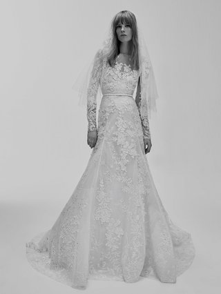 black-and-white-photo-of-elie-saab-bridal-spring-2017-long-sleeve-wedding-dress-embroidery-with-veil