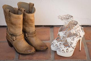 white-laser-cut-style-wedding-shoes-and-tan-cowboy-boots
