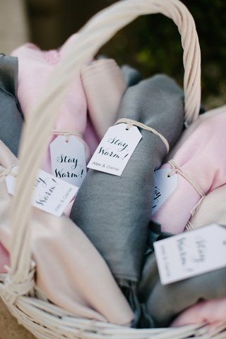 pink-beige-grey-and-gray-pashminas-for-guests-at-outdoor-wedding