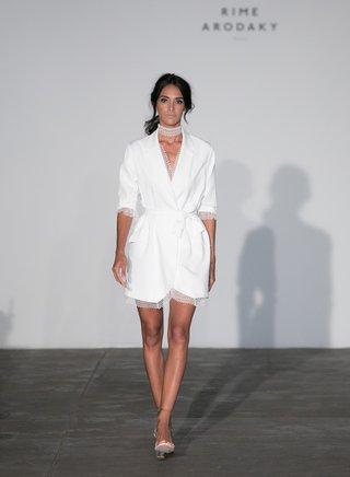 rime-arodaky-2018-bridal-collection-wedding-dress-short-wrap-dress-three-quarter-sleeve-v-neck