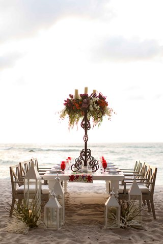 long-tablescape-tall-centerpieces-beach-punta-mita-mexico-wedding-styled-shoot-tropical-colorful