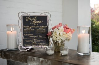black-drink-menu-with-gold-writing-and-silver-looped-frame