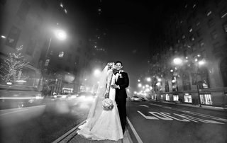rob-refsnyder-of-new-york-yankees-and-bride-in-matthew-christopher-gown-in-chicago-street