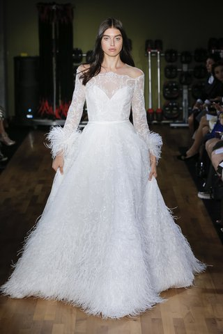 rivini-fall-2018-ethereal-lace-ball-gown-with-ostrich-feather-cuffs-cascading-ostrich-feather-skirt