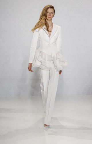 christian-siriano-for-kleinfeld-bridal-tailored-pant-suit-wedding-dress-alternative-with-ruffle-hem