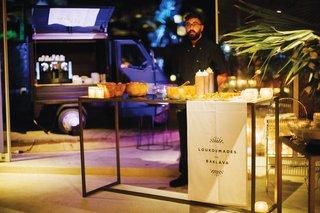 destination-wedding-in-mykonos-greece-loukoumade-and-baklava-desserts-station-espresso-truck