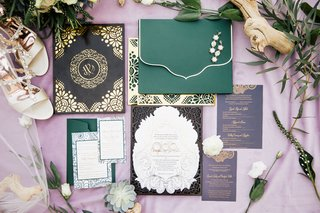 wedding-invitation-suite-oda-creative-green-envelope-purple-envelope-gold-laser-cut-details