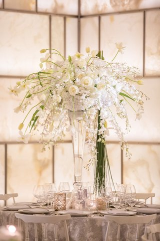 white-green-tall-centerpiece-glass-vase-contemporary-roses-hydrangea-tulips-silver-new-york-wedding
