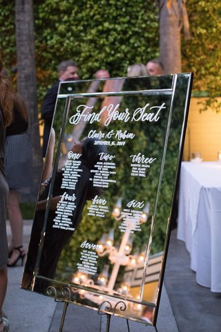 wedding-seating-chart-written-with-white-calligraphy-on-mirror