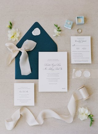 pretty-wedding-invitation-navy-blue-envelope-wax-seal-calligraphy-light-blue-velvet-ring-box-ribbon