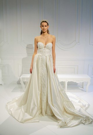 strapless-wedding-dress-with-lace-up-bodice-and-overskirt-with-open-front-ciara-lookalike