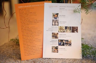 orange-playlist-card-with-song-selections-and-processional-list-with-photos