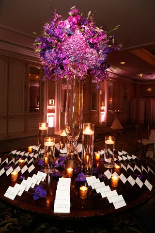 wedding-reception-escort-card-table-with-purple-hydrangeas-orchids-lisianthus-floating-candles