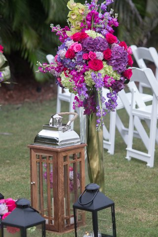 black-lanterns-wooden-and-chrome-lantern-purple-pink-fuchsia-green-flowers
