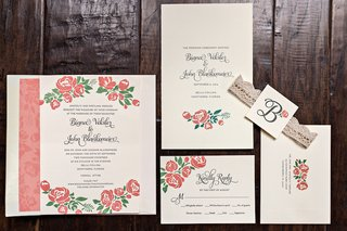 wedding-invitation-suite-with-pink-flower-and-vine-motif