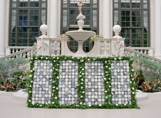 wedding-reception-the-breakers-courtyard-wedding-cocktail-hour-blue-white-tiles-and-greenery-white