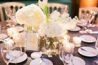 low-centerpiece-with-white-roses-white-hydrangeas-white-calla-lilies-in-separate-vases