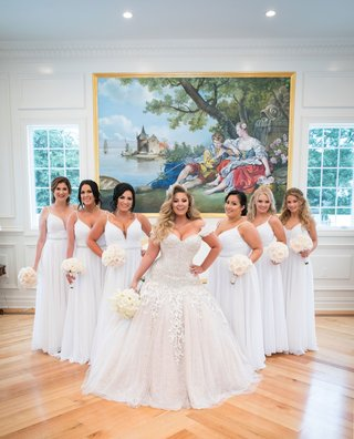ashley-alexiss-wedding-dress-ball-gown-off-shoulder-drop-waist-bridesmaids-in-white-dresses