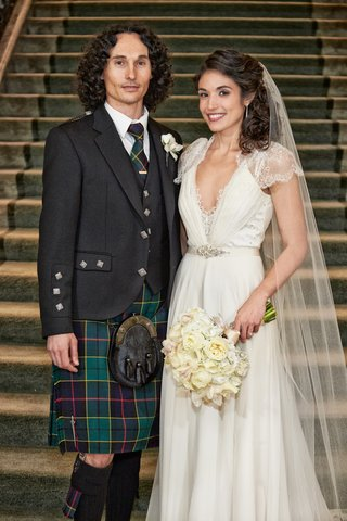 bride-in-a-jenny-packham-dress-with-lace-details-veil-groom-in-green-kilt-tie-blazer-with-studs