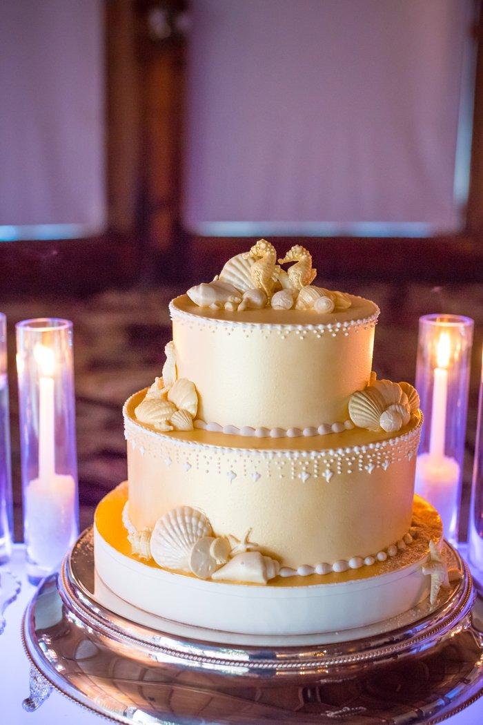 3-Tier Gold Cake, Sea Concept