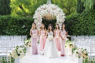 bride-in-off-shoulder-galia-lahav-wedding-dress-bridesmaids-in-light-pink-dresses-off-shoulder-strap