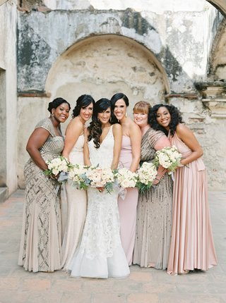 guatemala-destination-wedding-bridesmaid-in-mismatch-dresses-blush-champagne-grey-bride-in-liancarlo