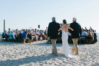father-stepfather-walk-bride-down-aisle-beach-wedding-oceanside-california-blending-family-ceremony