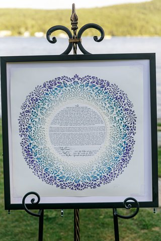 ketubah-displayed-at-ceremony-ketubach-with-laser-cut-vine-patterns-in-shades-of-blue