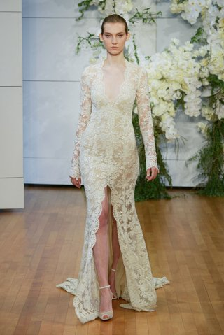 monique-lhuillier-spring-2018-bridal-collection-wedding-dress-faith-lace-long-sleeve-slit-in-front